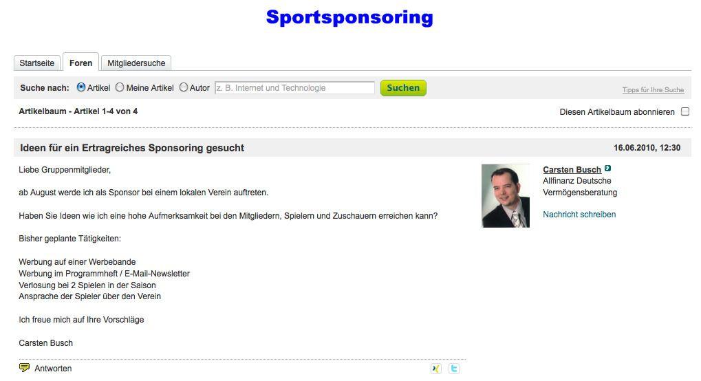 Frage einer Vermögensberatung zum Thema Sponsoring