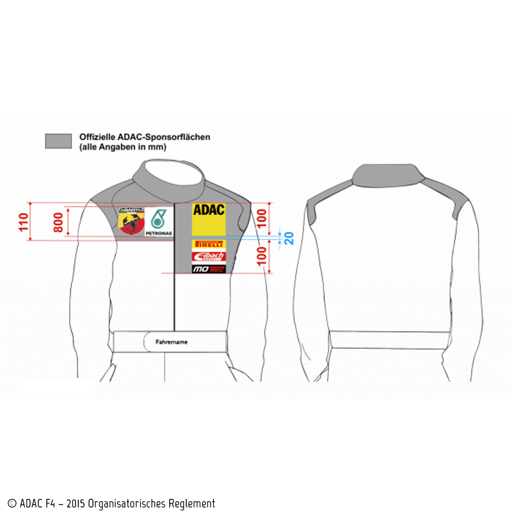 Eingeschränkte Sponsoren-Einbindung. Bildquelle: © ADAC F4 – 2015 Organisatorisches Reglement