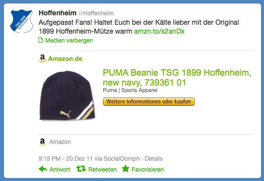 Werbe-Tweet der TSG 1899 Hoffenheim