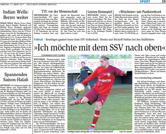 Typische Sponsoren-Präsenz in der Printberichterstattung des Reutlinger General-Anzeigers über den SSV Reutlingen (Saison 2010/2011)