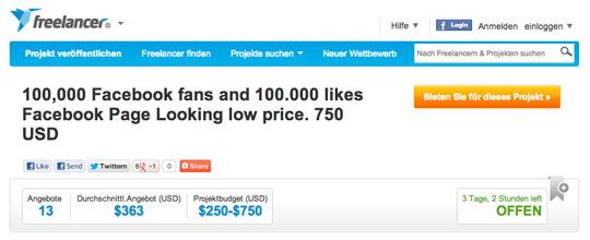 Verkauf von Facebook-Fans bei freelancer.com