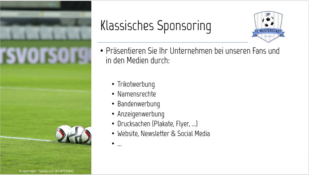 Sponsoren-Präsentation Muster Sponsoring-Leistungen Klassisches Sponsoring
