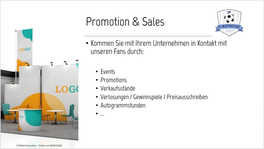 Sponsoren-Präsentation Muster Sponsoring-Leistungen Promotion & Sales