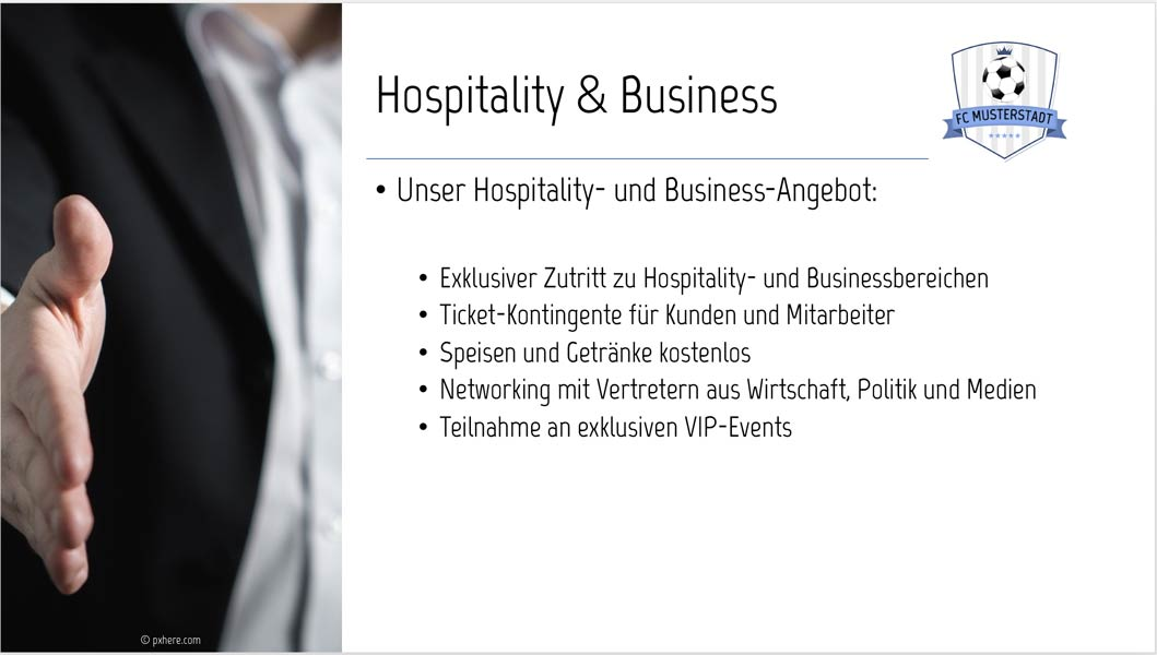 Sponsoren-Präsentation Muster Sponsoring-Leistungen Hospitality & Business