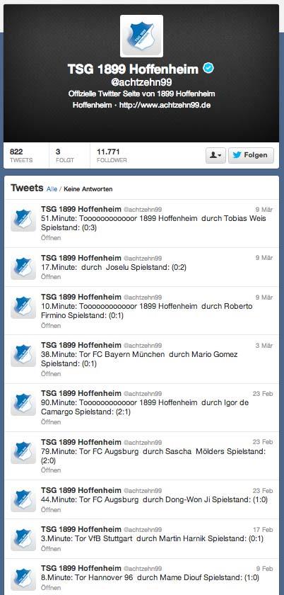Twitter-Liveticker TSG Hoffenheim