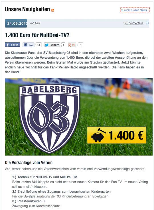 Abstimmung auf Klubkasse.de
