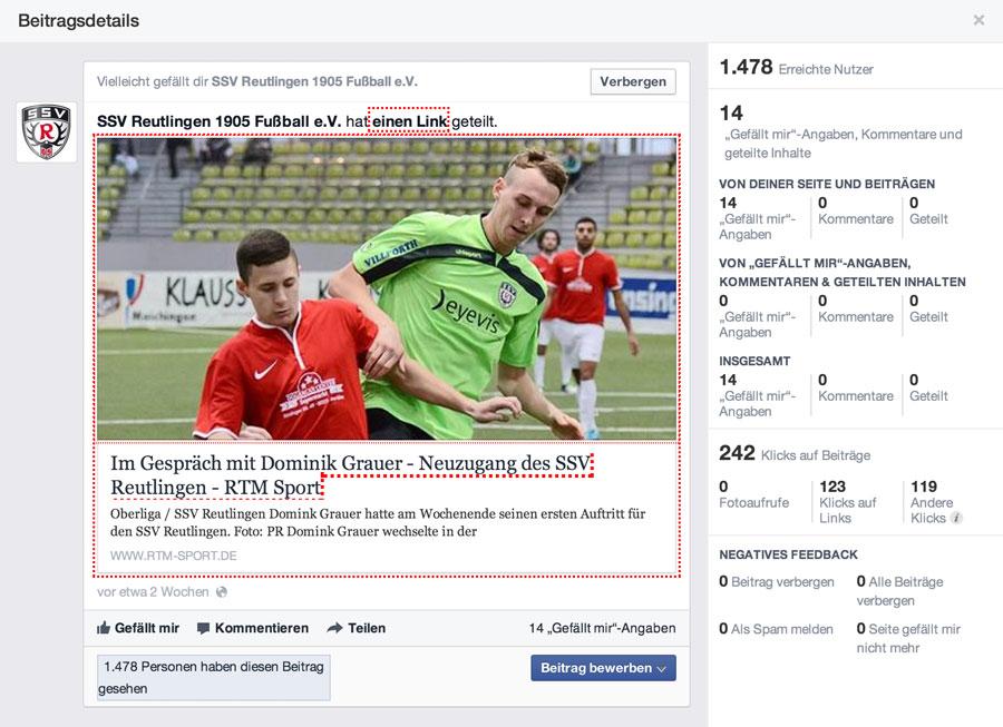 Sponsoring-Leistung Facebook-Posting
