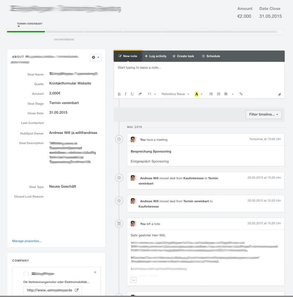 Auftragsinformationen Sponsoren-Akquise CRM System
