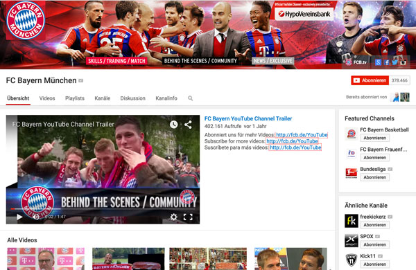 Sponsoren-Integration Youtube Kanal FC Bayern München